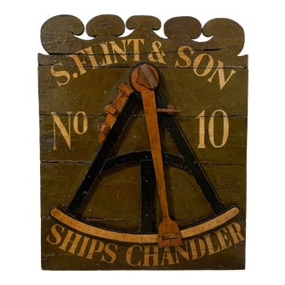 19th Century Antique Ships Chandler Shop Advertising Sign For Sale