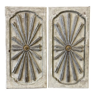 Italian Sunburst Painted Wall Panels - 19th C For Sale
