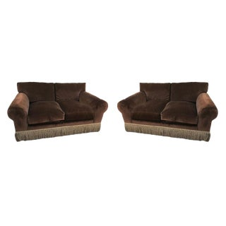 Custom Ralph Lauren Brown Velvet Sofa Loveseat - a Pair