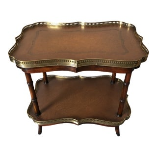 Two Tier Leather and Wood Side Table or Bar Cart For Sale
