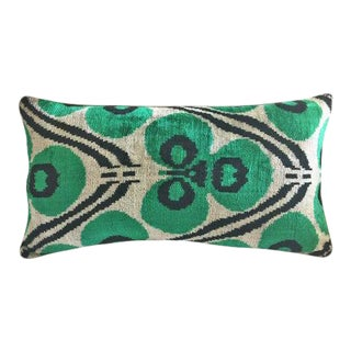 Green and Graphite Silk Velvet Down Feather Pillow For Sale