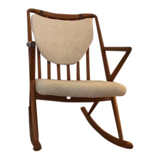 Benny A. Linden Teak & Cream Danish Rocking Chair