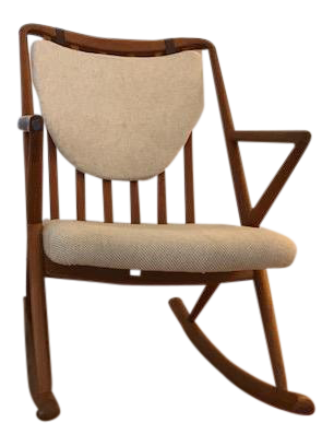 Benny A. Linden Teak U0026 Cream Danish Rocking Chair   Image 1 ...