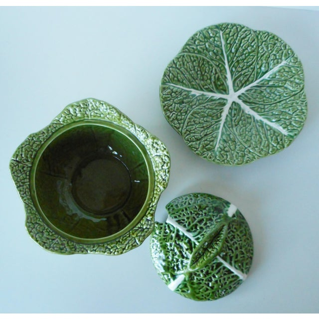 Vintage Majolica Green Cabbage Soup Tureen & Underplate For Sale - Image 6 of 9