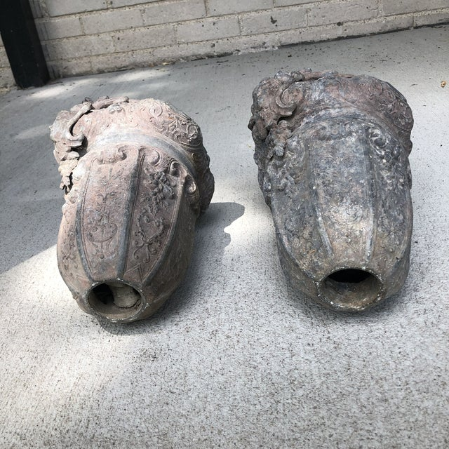 Antique Early 20th Century Beaux Arts Cast Aluminum Planters - a Pair For Sale In Minneapolis - Image 6 of 13