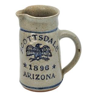 Vintage Scottsdale Arizona Embossed Stamped Stoneware Jug Pitcher For Sale