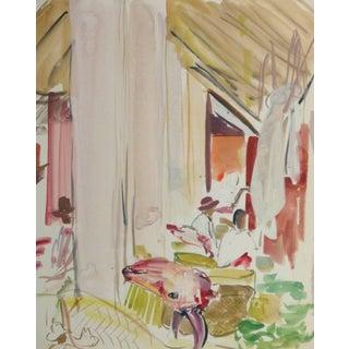 Stéphane Magnard, Vintage French Watercolor - Island Market For Sale