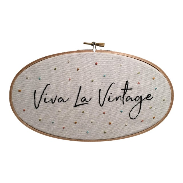 """Viva La Vintage"" Embroidered Artwork For Sale"