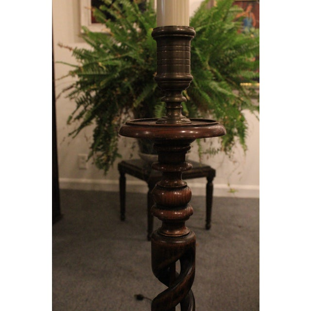 Traditional Tall Vintage Spiral Floor Lamp For Sale - Image 3 of 7