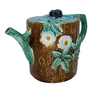 Holdcroft Majolica Blackberry on Tree Trunk Teapot, Turquoise Blue Cover C. 1877 For Sale