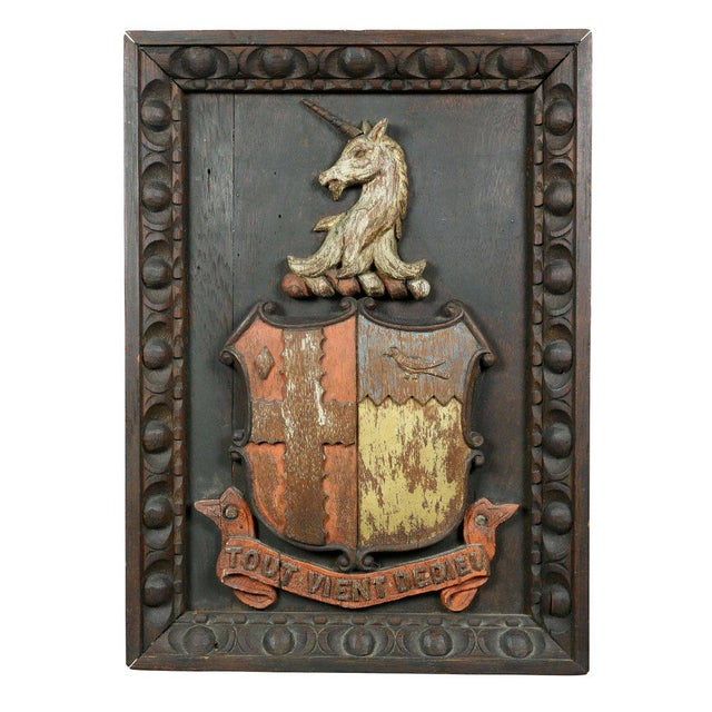 Two European Carved and Painted Oak Coats of Arms For Sale - Image 9 of 9