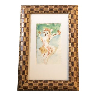 Original Vintage Expressionist Female Nude Watercolor For Sale