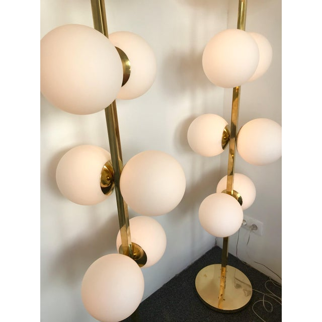 Gold Contemporary Brass Floor Lamps Opaline Ball, Italy For Sale - Image 8 of 13