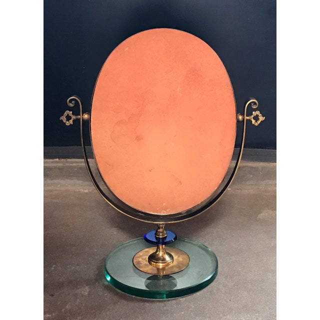 1960s Neoclassical Italian Midcentury Brass Italy Table Vanity Mirror For Sale In Los Angeles - Image 6 of 13