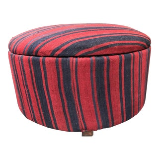 20th Century Art Deco Navy Blue and Red Striped Kilim Storage Ottoman
