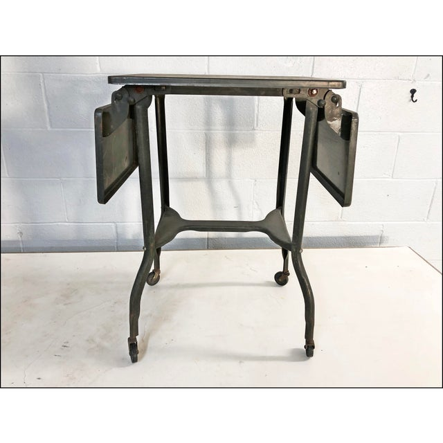 Vintage Industrial Green Typewriter Table with Double Drop Leaf For Sale - Image 6 of 13