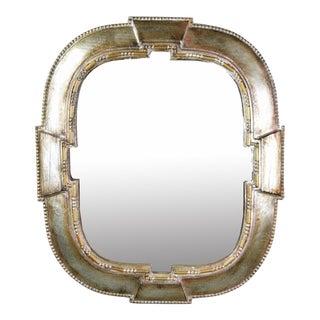 Vintage Italian Silver Gilt Solid Wood Wall Mirror
