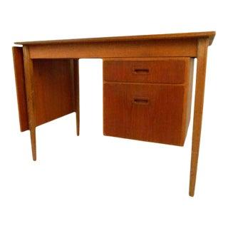 Scandinavian Modern Drop-Leaf Desk in Teak For Sale