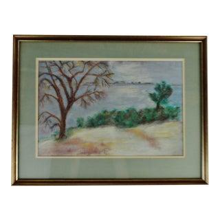 Vintage Framed Pastel Landscape Drawing For Sale