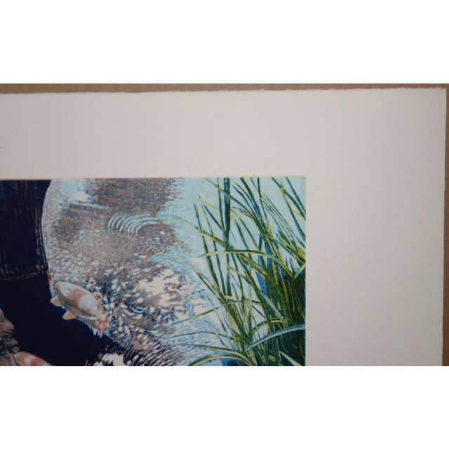 """Impressionist Vintage Koi Pond """"Second June"""" Etching W/ Aquatint by Thadd Evans C.1986 For Sale - Image 3 of 11"""
