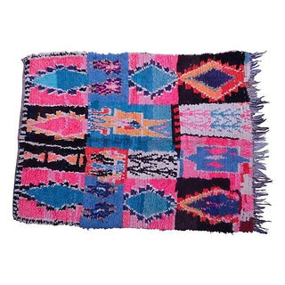 "Pink & Blue Moroccan Wool Rug - 6'2"" X 4'6"""