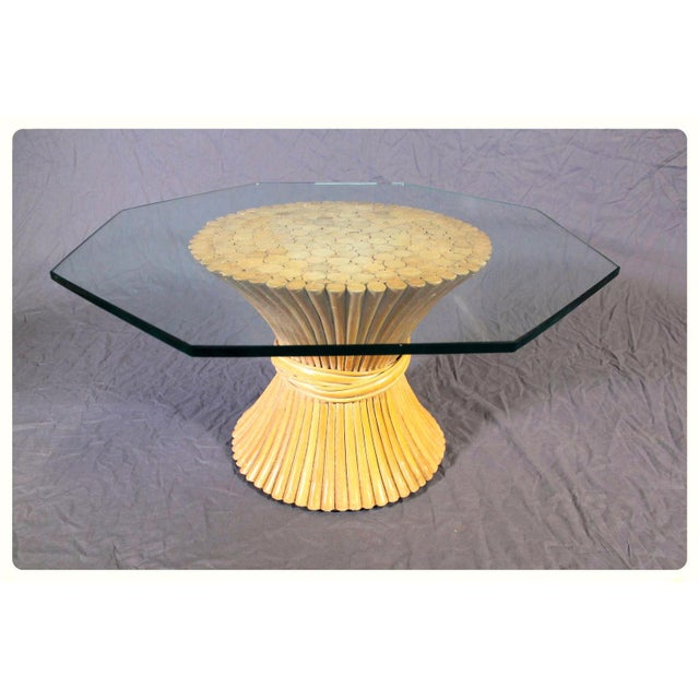 McGuire Glass Top Wheat Coffee Table - Image 6 of 10