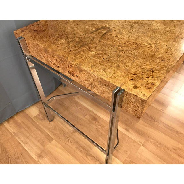 Notable Jack Freidin for Pace Burl Wood and Chrome Desk - Image 8 of 11