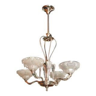"""Late Art Deco Nickel and Frosted Glass """"Icicle"""" Chandelier"""