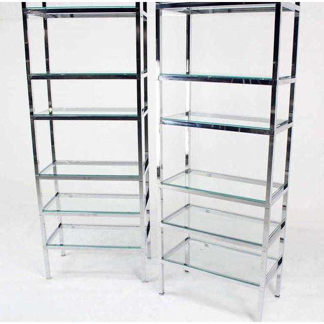 1960s Pair of Tall and Narrow Chrome Etageres by Charles Jones For Sale - Image 5 of 8