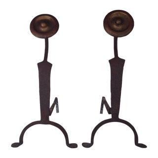 Antique Art Deco Iron Andirons - A Pair For Sale