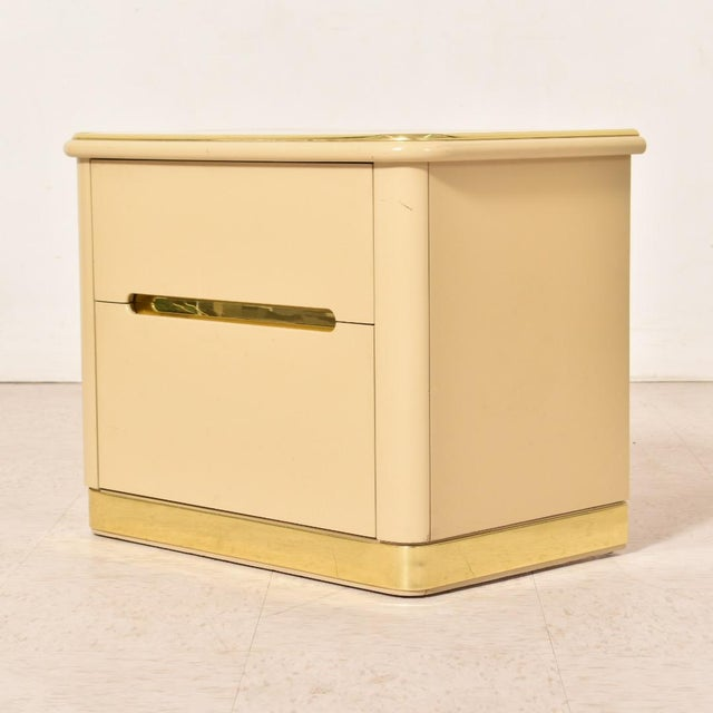 1980s 1980s Lane Brass and Cream Nightstands-a Pair For Sale - Image 5 of 8