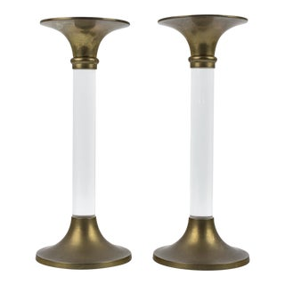 1970s Vintage Hollywood Regency Lucite and Brass Candlestick Holders- A Pair For Sale