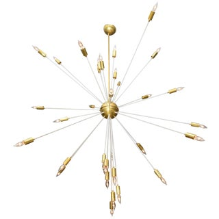 Mid Century Modern Extra Large Enamel/Brass Sputnik 33 Lights Chandelier For Sale