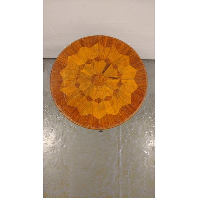 French French Flea Market Style Marquetry Side Table For Sale - Image 3 of 4