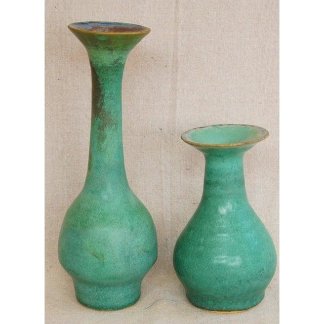 Mid-Century Studio Art Green Pottery Bud Vases - Set of 2 - Image 8 of 8
