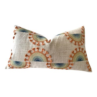 Embroidered Boho Suns Tasseled Pillow Cover For Sale