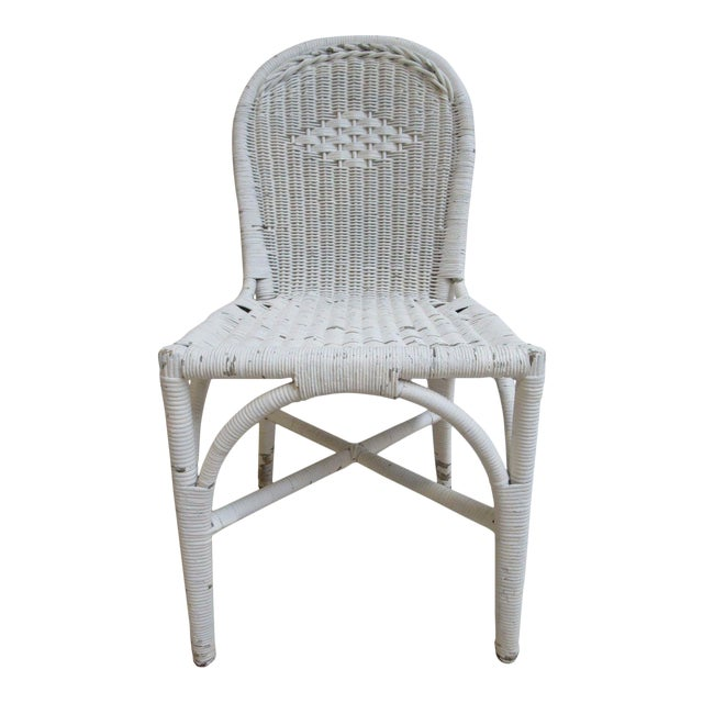 Antique Wicker Outdoor Patio Chair For Sale