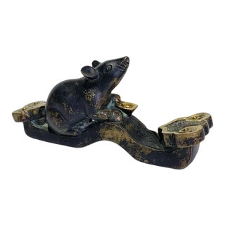 Early 20th Century Antique Chinese Bronze Rat on Ruyi Sceptre With Gold Ingot For Sale
