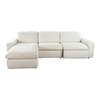 West Elm Contemporary Three Cushion Reclining Sectional Sofa For Sale