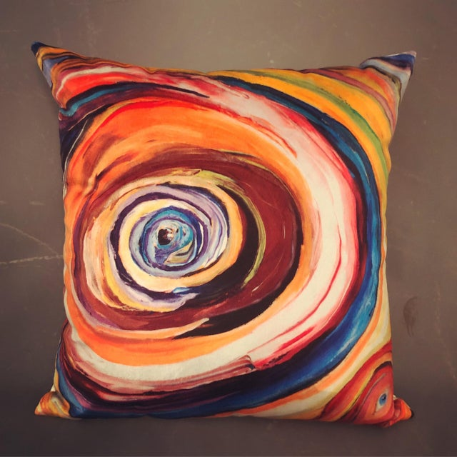 "2010s ""Bruce Mishell"" Modern Hand Made Abstract Art Print Pillows - a Pair For Sale - Image 5 of 6"