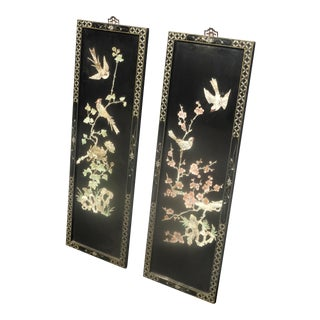 Pair Vintage Oriental Asian Black Mother of Pearl Wall Panels Pictures W Birds For Sale