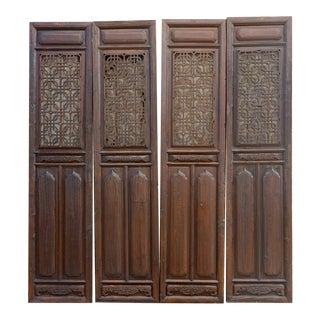 Set of Four, Tall Interweaved Openwork Lattice Door Panel For Sale