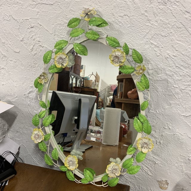 Vintage Tole Flower Mirror For Sale In West Palm - Image 6 of 9