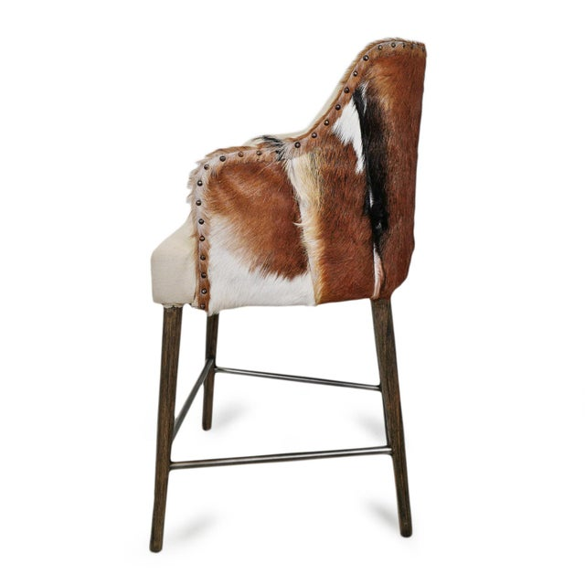 Austin Goat & Linen Counter Stool For Sale - Image 4 of 9