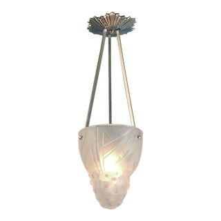 French Art Deco Signed Degué Frosted Lighting Bowl Pendant For Sale