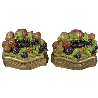 Vintage Mixed Fruit American Chalkware Gilded Bookends - a Pair For Sale