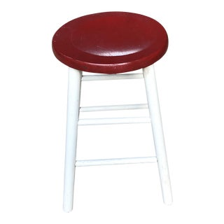 Vintage Red and White Painted Farm Stool For Sale