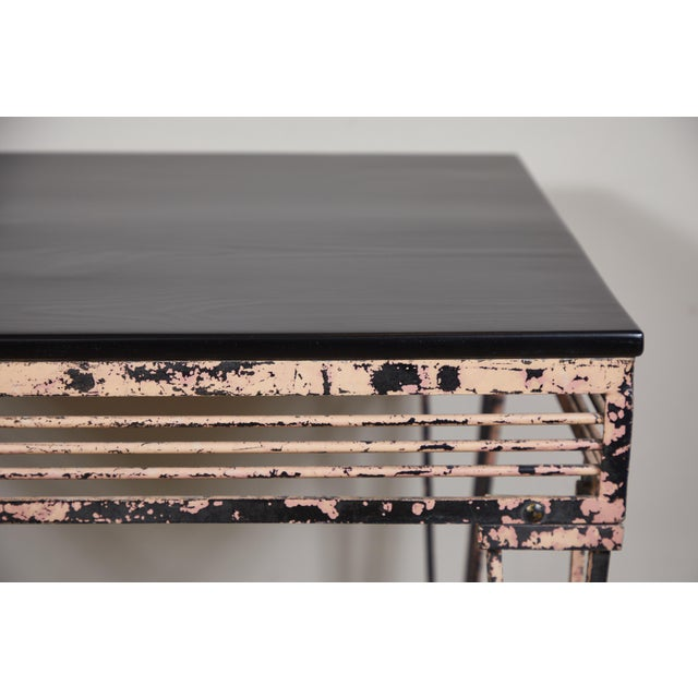 Art Deco Vintage Iron Table With Black Wood Top For Sale - Image 3 of 9