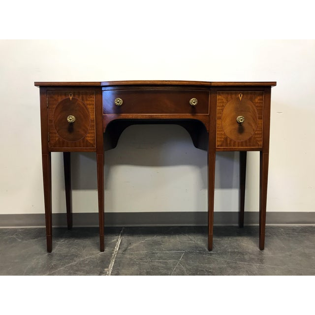 Late 19th Century Inlaid Mahogany Walnut Satinwood Bow Front Sideboard / Console - Image 2 of 11