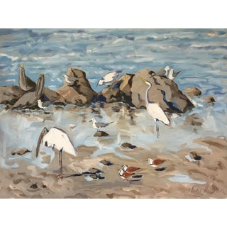 "Guerin Oil Painting ""Tide Pool 2"", Contemporary Blue and Gray Beach With Birds For Sale"